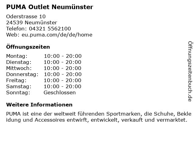 PUMA Outlet Neumünster in Neumünster: Adresse und Öffnungszeiten