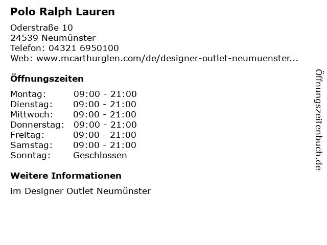 Polo Ralph Lauren in Neumünster: Adresse und Öffnungszeiten