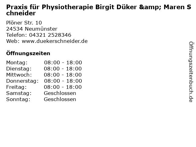 Praxis für Physiotherapie Birgit Düker & Maren Schneider in Neumünster: Adresse und Öffnungszeiten