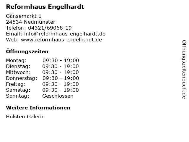 Reformhaus Engelhardt GmbH & Co. KG in Neumünster: Adresse und Öffnungszeiten