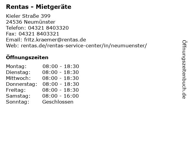 Rentas - Mietgeräte in Neumünster: Adresse und Öffnungszeiten