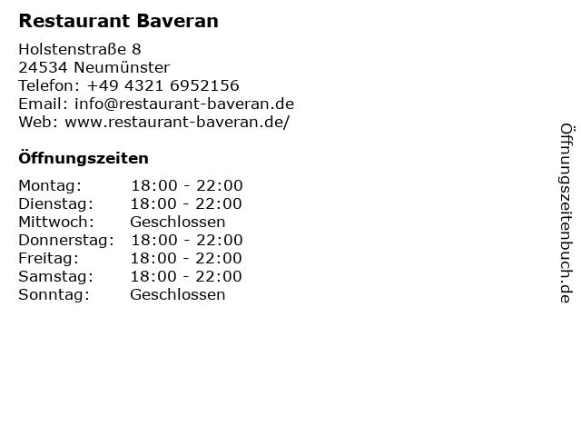 Restaurant Baveran in Neumünster: Adresse und Öffnungszeiten