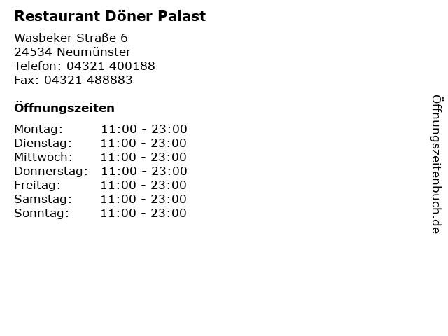 Restaurant Döner Palast in Neumünster: Adresse und Öffnungszeiten