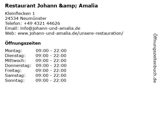 Restaurant Johann & Amalia in Neumünster: Adresse und Öffnungszeiten