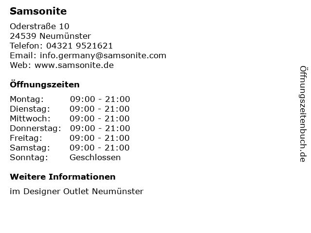 Samsonite in Neumünster: Adresse und Öffnungszeiten