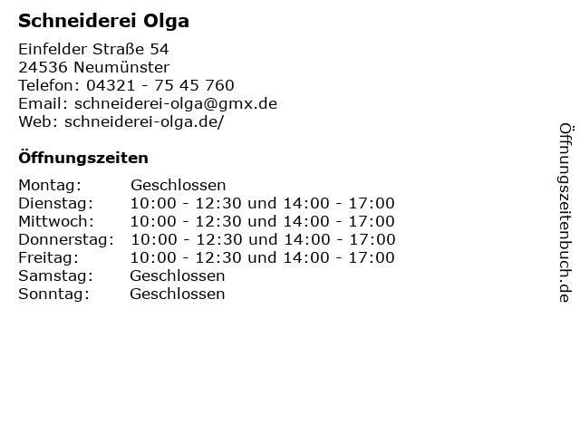 Schneiderei Olga in Neumünster: Adresse und Öffnungszeiten