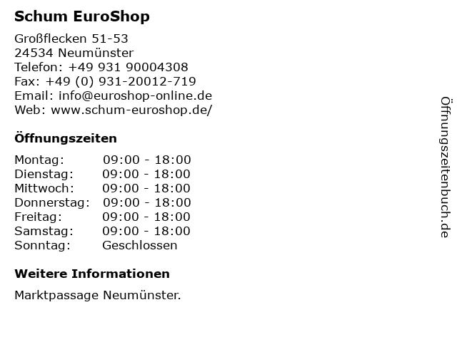 Schum EuroShop GmbH & Co. KG in Neumünster: Adresse und Öffnungszeiten
