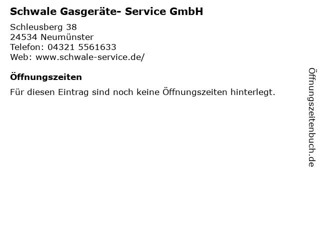 Schwale Gasgeräte- Service GmbH in Neumünster: Adresse und Öffnungszeiten