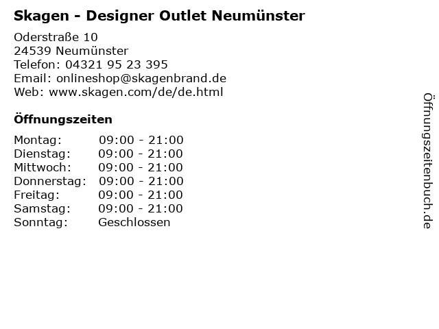 Skagen - Designer Outlet Neumünster in Neumünster: Adresse und Öffnungszeiten