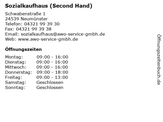 Sozialkaufhaus (Second Hand) in Neumünster: Adresse und Öffnungszeiten