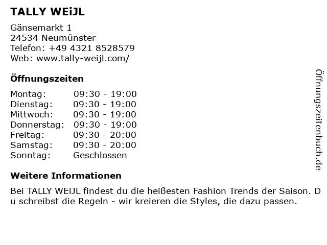 Tally Weijl Deutschland GmbH in Neumünster: Adresse und Öffnungszeiten