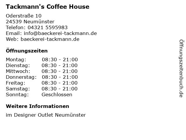 Tackmann's Coffee House in Neumünster: Adresse und Öffnungszeiten