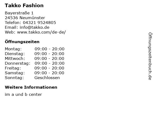 Takko Fashion in Neumünster: Adresse und Öffnungszeiten