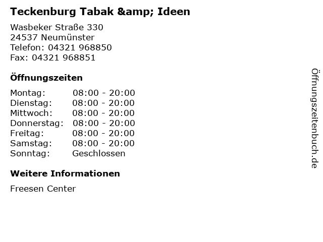 Teckenburg Tabak & Ideen in Neumünster: Adresse und Öffnungszeiten