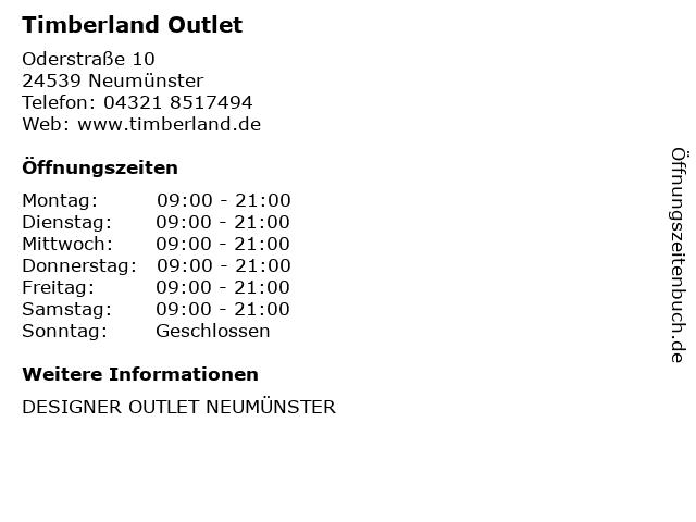 Timberland Outlet in Neumünster: Adresse und Öffnungszeiten