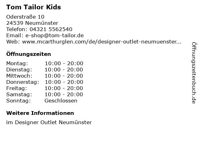 Tom Tailor Kids in Neumünster: Adresse und Öffnungszeiten