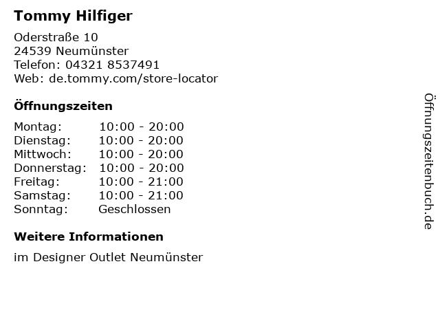 Tommy Hilfiger in Neumünster: Adresse und Öffnungszeiten