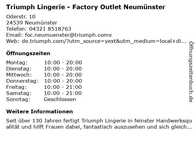 Triumph Factory Outlet Neumünster in Neumünster: Adresse und Öffnungszeiten