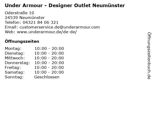 Under Armour - Designer Outlet Neumünster in Neumünster: Adresse und Öffnungszeiten