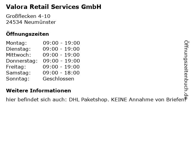 Valora Retail Services GmbH in Neumünster: Adresse und Öffnungszeiten