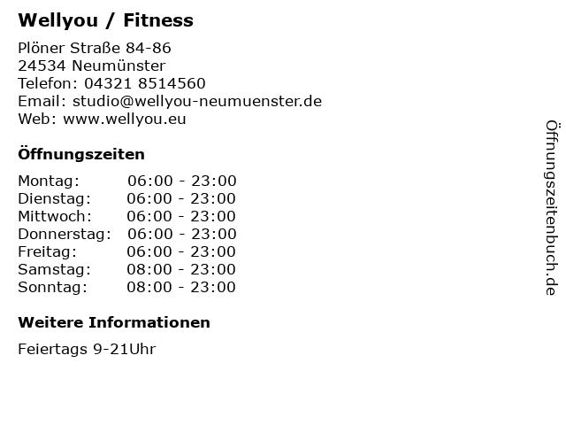 Wellyou / Fitness in Neumünster: Adresse und Öffnungszeiten