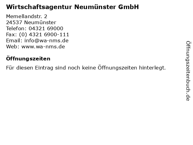 Wirtschaftsagentur Neumünster GmbH in Neumünster: Adresse und Öffnungszeiten