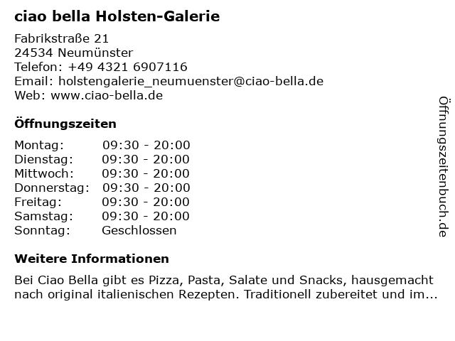 ciao bella Holsten-Galerie in Neumünster: Adresse und Öffnungszeiten