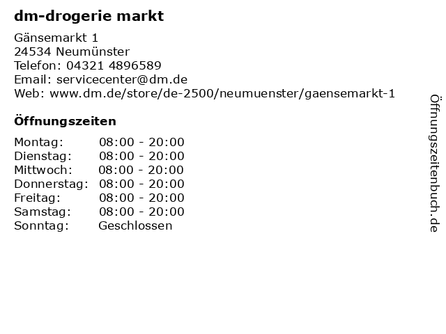 dm-drogerie markt GmbH + Co. KG in Neumünster: Adresse und Öffnungszeiten