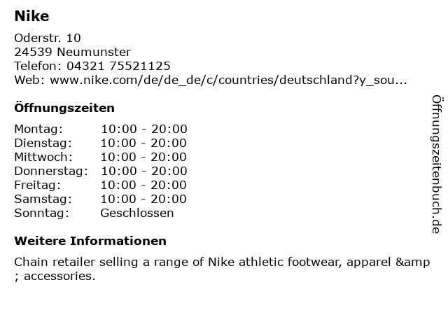Nike in Neumünster: Adresse und Öffnungszeiten
