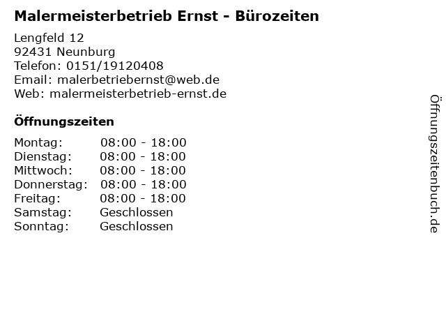 Malermeisterbetrieb Ernst - Bürozeiten in Neunburg: Adresse und Öffnungszeiten
