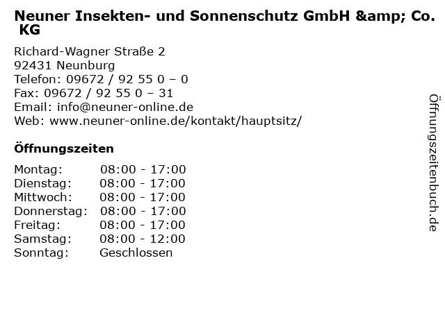 Neuner Insekten- und Sonnenschutz GmbH & Co. KG in Neunburg: Adresse und Öffnungszeiten
