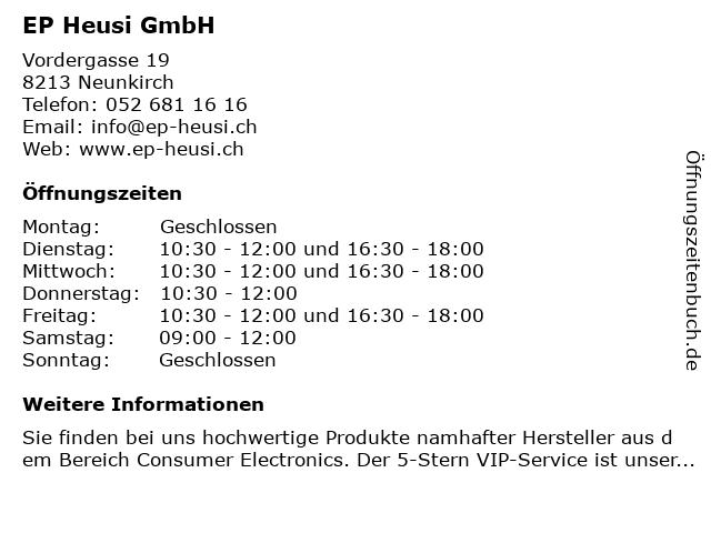 EP Heusi GmbH in Neunkirch: Adresse und Öffnungszeiten
