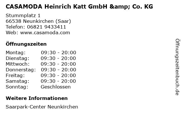 CASAMODA Heinrich Katt GmbH & Co. KG in Neunkirchen (Saar): Adresse und Öffnungszeiten