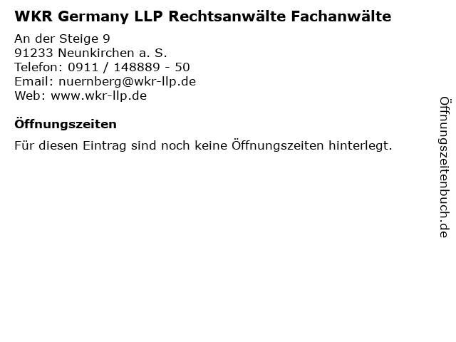 WKR Germany LLP Rechtsanwälte Fachanwälte in Neunkirchen a. S.: Adresse und Öffnungszeiten