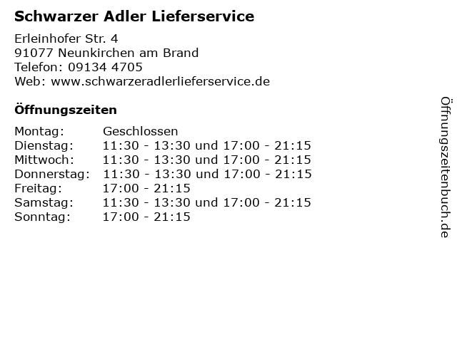 Schwarzer Adler Lieferservice in Neunkirchen am Brand: Adresse und Öffnungszeiten