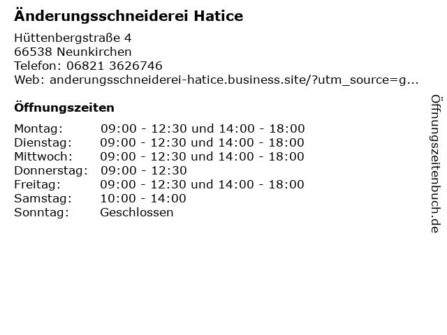 Änderungsschneiderei Hatice in Neunkirchen: Adresse und Öffnungszeiten