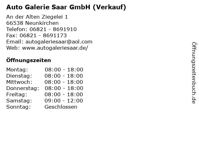 Auto Galerie Saar GmbH (Verkauf) in Neunkirchen: Adresse und Öffnungszeiten