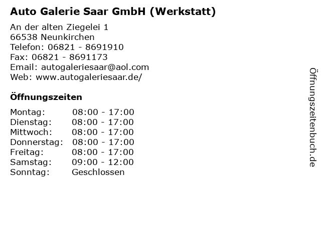 Auto Galerie Saar GmbH (Werkstatt) in Neunkirchen: Adresse und Öffnungszeiten