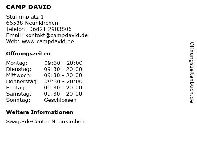 CAMP DAVID in Neunkirchen: Adresse und Öffnungszeiten