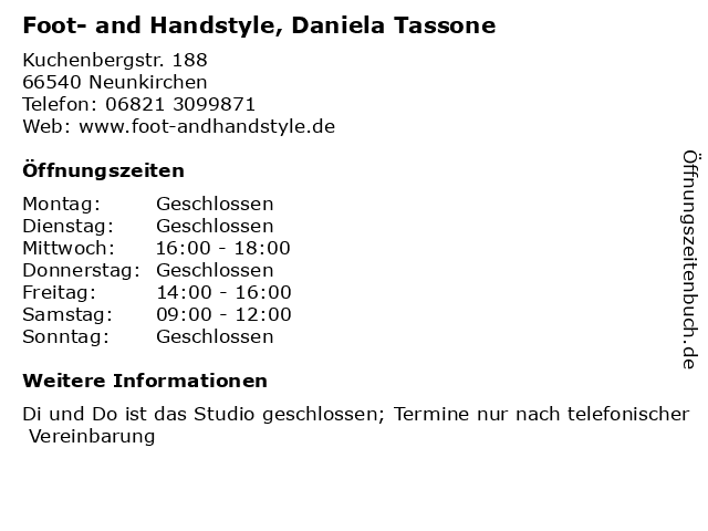 Foot- and Handstyle, Daniela Tassone in Neunkirchen: Adresse und Öffnungszeiten