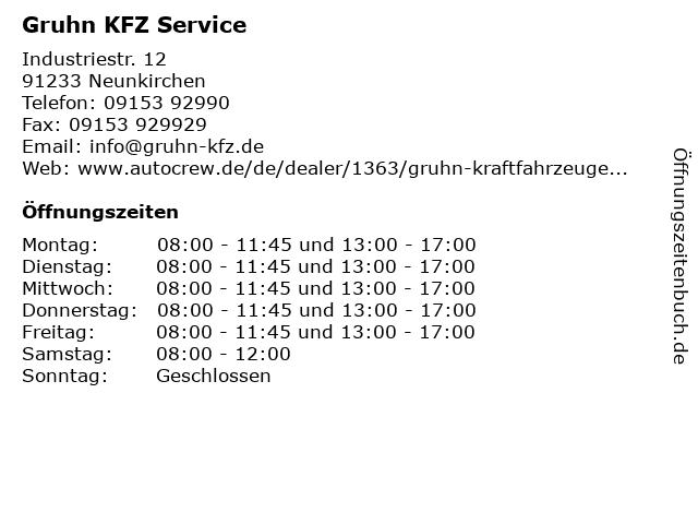 Gruhn KFZ Service in Neunkirchen: Adresse und Öffnungszeiten