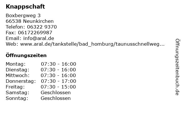 Knappschaft in Neunkirchen: Adresse und Öffnungszeiten