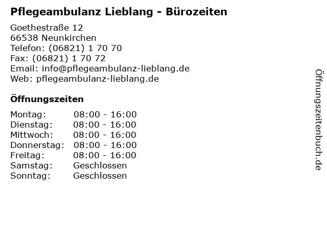 Pflegeambulanz Lieblang - Bürozeiten in Neunkirchen: Adresse und Öffnungszeiten