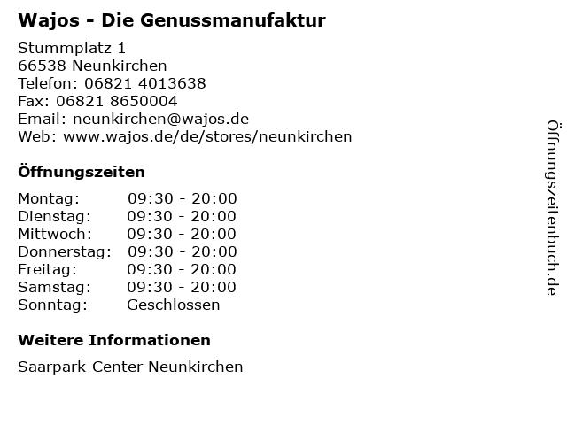 Wajos - Die Genussmanufaktur in Neunkirchen: Adresse und Öffnungszeiten