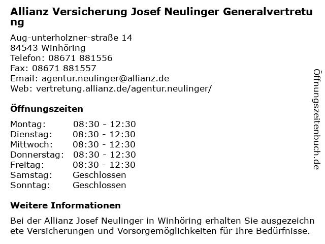 Allianz Versicherung - Generalvertretung Josef Neulinger in Neuötting: Adresse und Öffnungszeiten