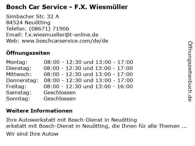 Bosch Car Service in Neuötting: Adresse und Öffnungszeiten