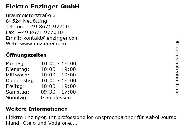 Elektro Enzinger GmbH in Neuötting: Adresse und Öffnungszeiten