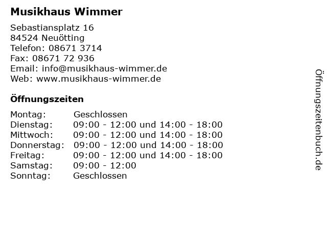 Musikhaus Wimmer in Neuötting: Adresse und Öffnungszeiten