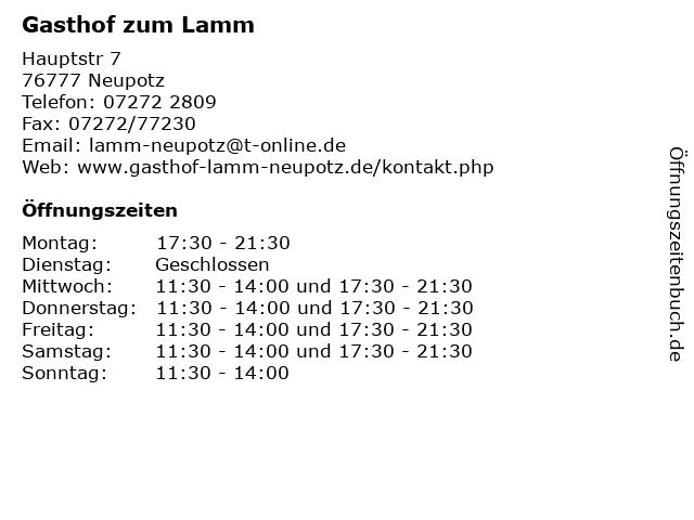 Gasthof zum Lamm in Neupotz: Adresse und Öffnungszeiten