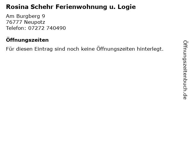 Rosina Schehr Ferienwohnung u. Logie in Neupotz: Adresse und Öffnungszeiten